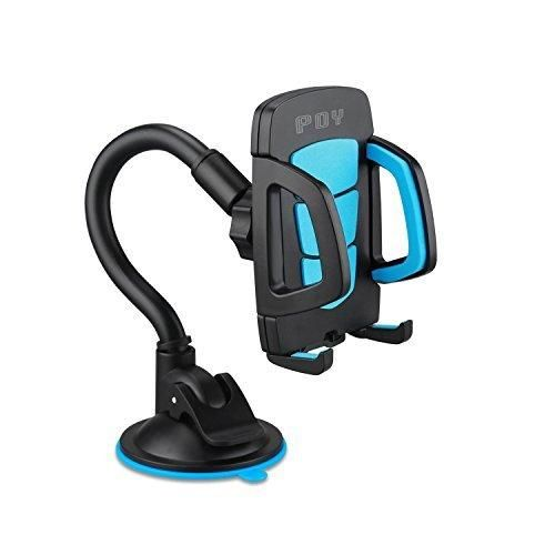 Car Holder Universal Windshield Cell Phone Holder Cradle Flexible 360 Rotating Car Mount for almost Smartphone - iPhone 7 7Plus Galaxy S7 S7Edge LG HTC up to 7 inches Device - Blue