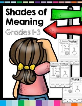 Shades of Meaning Cut and Paste! These are 40 pages of verbs, adjectives, and nouns to cut, paste, sort and write for learning shades of meaning. Students are asked to cut and paste the words and rank them in order from weakest to strongest. There's an extra word that doesn't belong too. Next, students are asked to write a sentence for each word pasted.