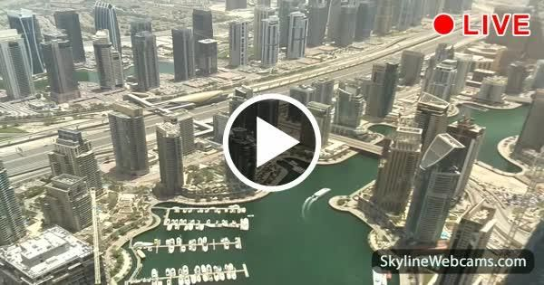 View over Dubai Marina, JLT, Sheikh Zayed Road and Metro line from Princess Tower