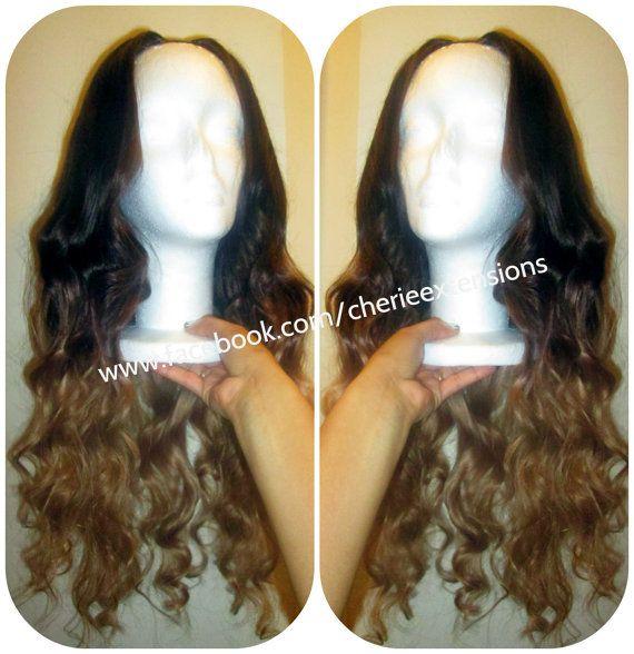 Custom U Part Wig Virgin Ombre Balayage Dip Dye U Part Brazilian Wig #4 Medium Brown into #16 Golden Blonde