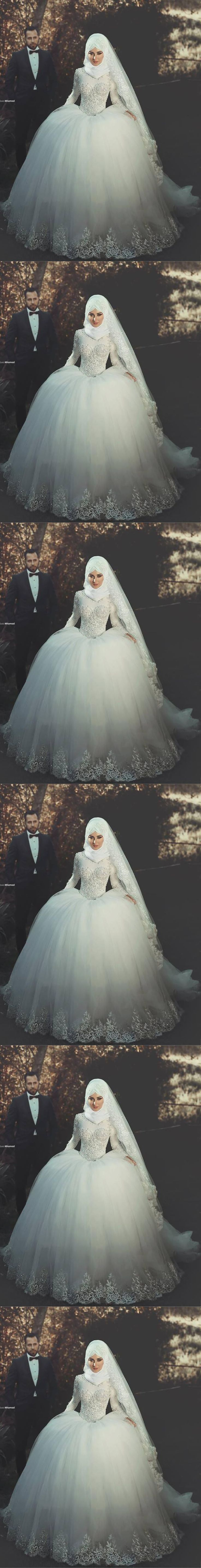 Muslim Hijab Wedding Dresses 2016 Ball Gown High Neck Long Sleeve Bride Dresses With Beaded Appliques $269
