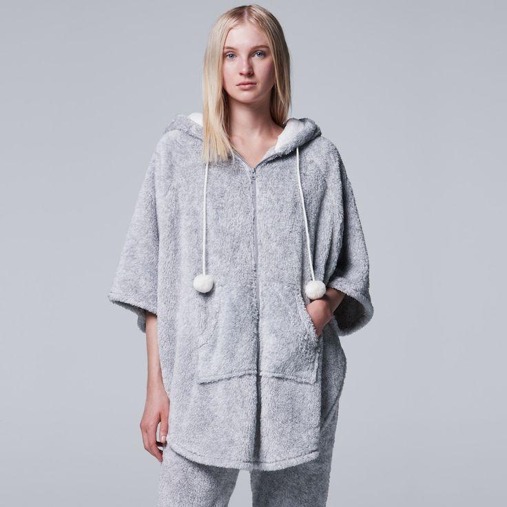 Women's Simply Vera Vera Wang Pajamas: Plush Party Fleece Hooded Poncho, Size: Medium, Silver