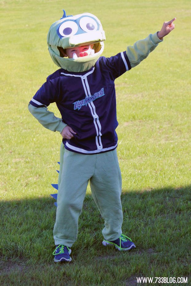 DIY Lake Monster Halloween Costume Idea - Vermont Lake Monsters Mascot, Champ Tutorial including a fun Monster Tail Pattern