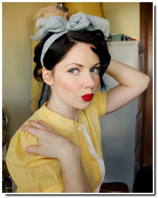 122 Vintage short hair up-do scarf bow bangs pinup