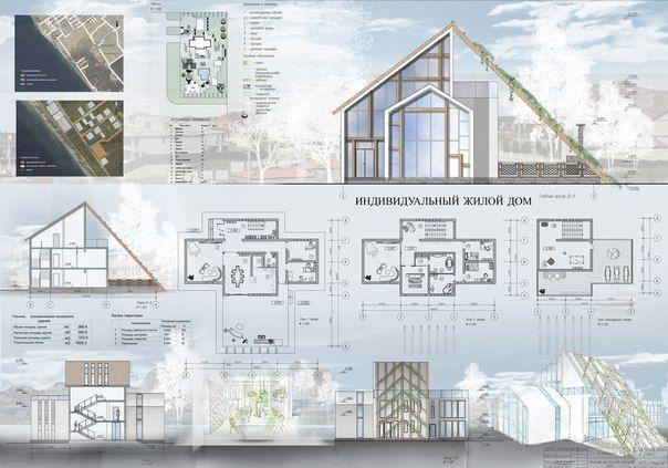 проект индивидуального жилого дома.2 курс архитектурного института.