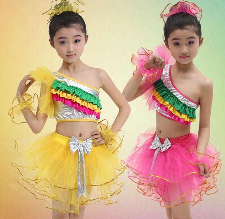 Дети танец показывает вуаль девушки одежда платье балетной пачки детская латинский танец костюм радуги дети современный танец платье