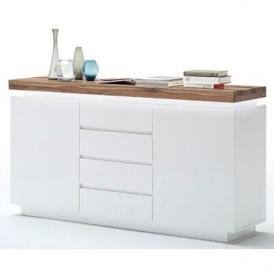 Romina 2 Door Sideboard In Knotty Oak And White Matt With LED