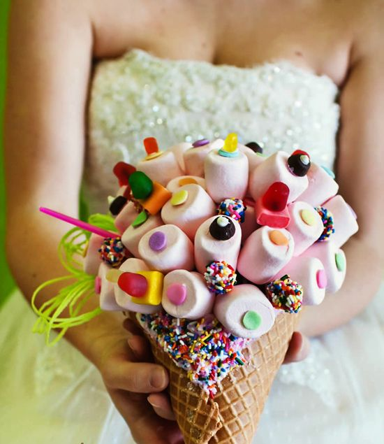 Candy bouquet of marshmallows and candy in cone..My kind of bouquet ;~)