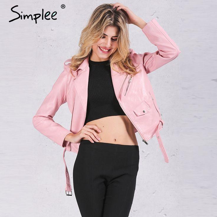 US $31.99 -- Simplee Zipper PU leather jacket coat Short black motorcycle jacket with pocket 2016 Classic basic winter jacket women outwear aliexpress.com