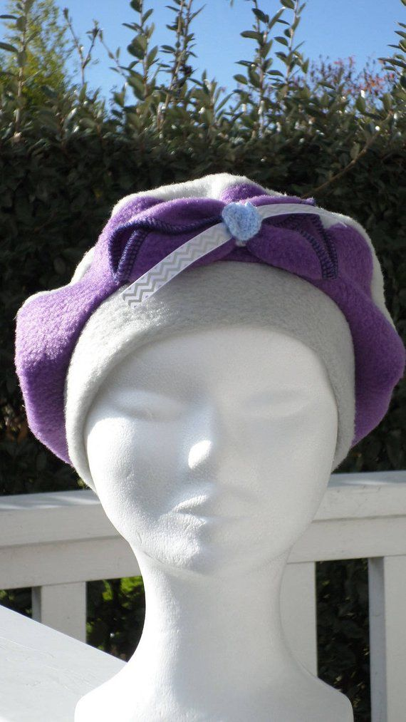 Bonnet chapeau béret lin eva créateur polaire gris et mauve enfant  confortable unique hiver b9ad270fa1f