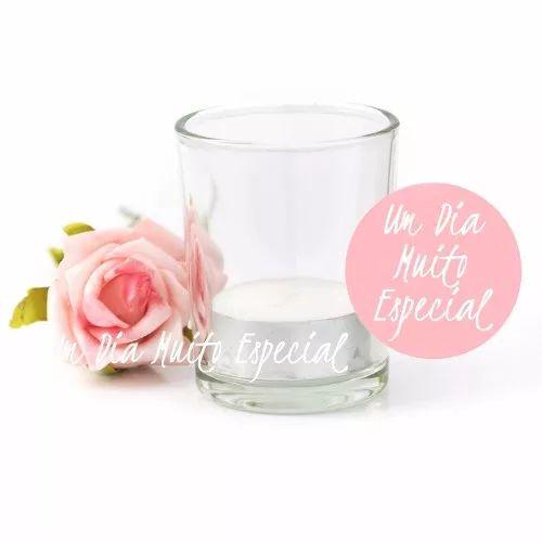 30 un porta vela vidro saudade com vela rechaud frete grátis