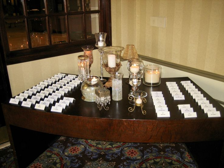 A romantic collection of assorted candles on the card table at Doubletree Hotel.
