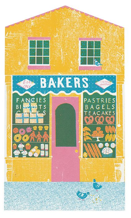 Bakers a traditional bakery on a British High Street - Up My Street - Louise Lockhart   Illustration   Design   The Printed Peanut available to buy online at www.theprintedpeanut.co.uk