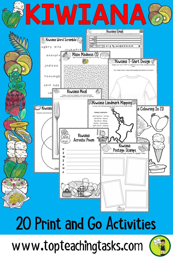 Kiwiana Activity Pack. Full of creative and engaging content, this print and go activity pack will help your class learn about the unique cultural icons of New Zealand. These 20 activities are easy to use and flexible - just print and go. These tasks can be easily differentiated, and there really is something for everyone! Perfect for your guided reading program, as independent tasks, or as a homework activity. #kiwiana #printandgo #kiwianaactivities