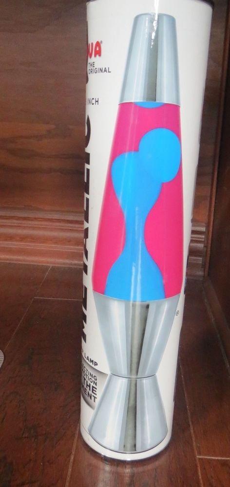 Original LAVA LAMP 14.5 Inch Classic Style METALLIC Silver Blue Pink 25W  #2155