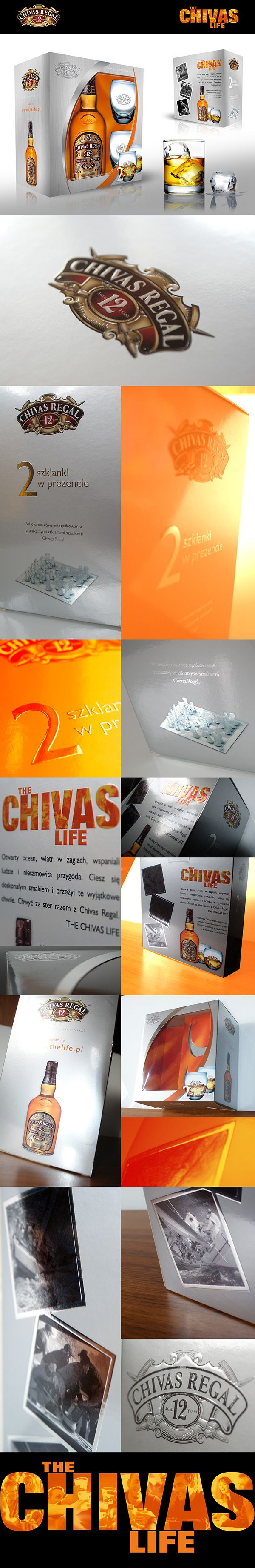 Chivas Regal on-pack promotion for Christmas. Premium packaging - CMYK, Pantone  877, Metalised cardboard, embossing and special effects varnish.