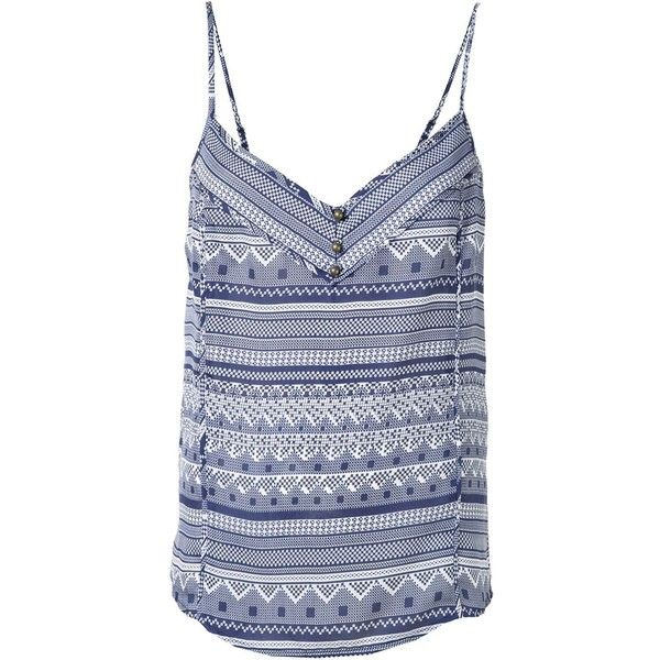 Veronica Beard 'Cubano' cami top (530 RON) ❤ liked on Polyvore featuring tops, blue, cami top, blue tank, silk camisole, silk cami tops and blue tank top