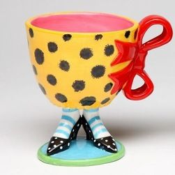 high heel coffee cup | 75 Inch Yellow Leopard Print Cup with Red Bow on Black High Heels ...