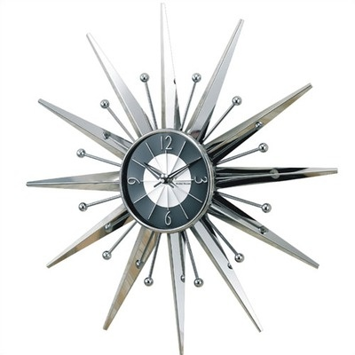 Verichron Starburst Wall Clock in Silver and Black $133.99Decor, Sunrays Clocks, George Nelson, Silver, Metals Sunrays, Wall Clocks, Nelson Metals, Starburst Wall, Products