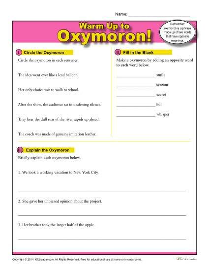 Printable Oxymoron Warm Up Activity for Class or Home
