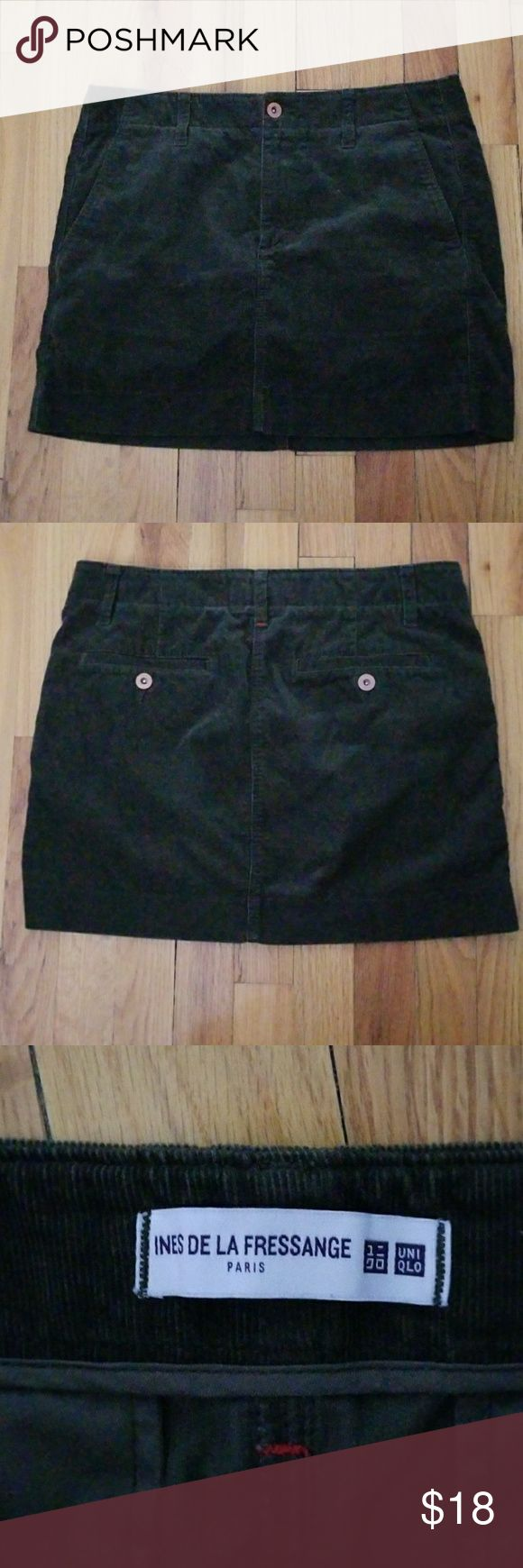 "Uniqlo Mini Skirt Uniqlo mini skirt. Size 4. Brown. Pre-owned, great condition. 2 front side pockets. 2 buttoned back pockets. Belt loops. These are from the '2017 Ines De La Fressange collection'. 100% cotton. Soft. All buttons say Uniqlo. 15"" waist laying flat. 14"" length. Last pic is true color.   See listing for same skirt in black.  No offers. Final price. Uniqlo Skirts Mini"
