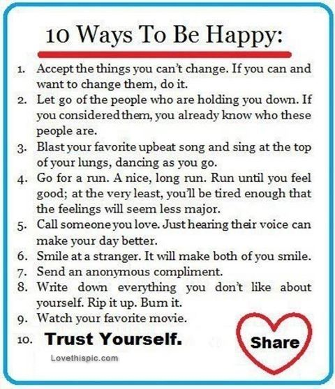 Positive Quotes About Life Lessons: 10 Ways To Be Happy Life Quotes Quotes Positive Quotes