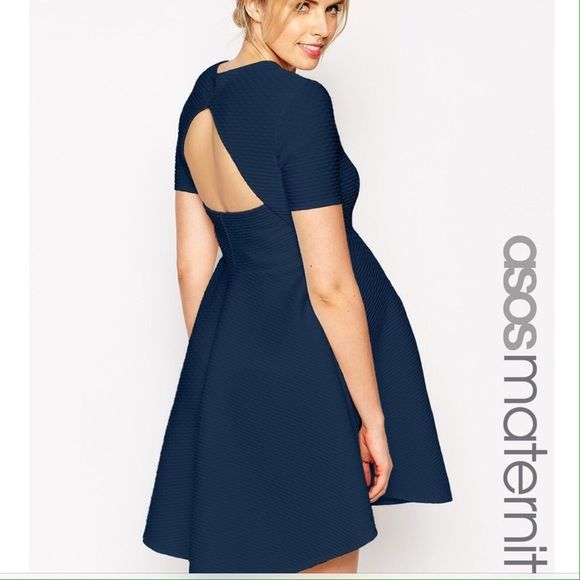 NWT ASOS Maternity Navy Texture Cutout Dress 4 New with tags ASOS Maternity navy skater dress size 4. Beautiful navy blue texture pattern fabric. Adorable cutout back with empire waist. US size 4. Bundle and save on maternity items in my closet! ASOS Dresses Midi