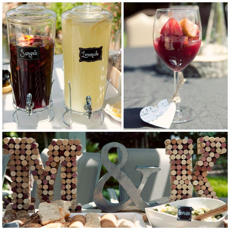 wine and cheese bridal shower  sangria  cork monogram letters  bridal shower d u00e9cor  popular with