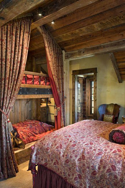guest room - too cool!: Guestroom, Cabin, Guest Bedrooms, Bunk Beds, Rustic Interiors, Rooms Ideas, Bunk Rooms, Guest Rooms, Logs Home
