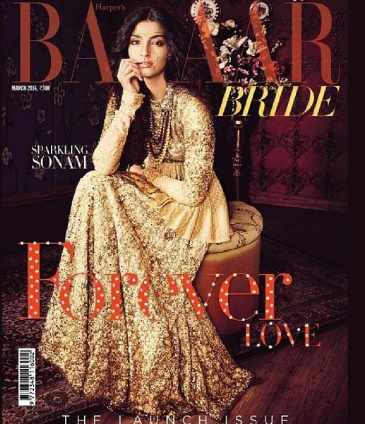 Sonam Kapoor for the inaugural issue of Harpers Bazaar Bride. In sabyasachi couture and Hazoorilal Jewellery. Love!