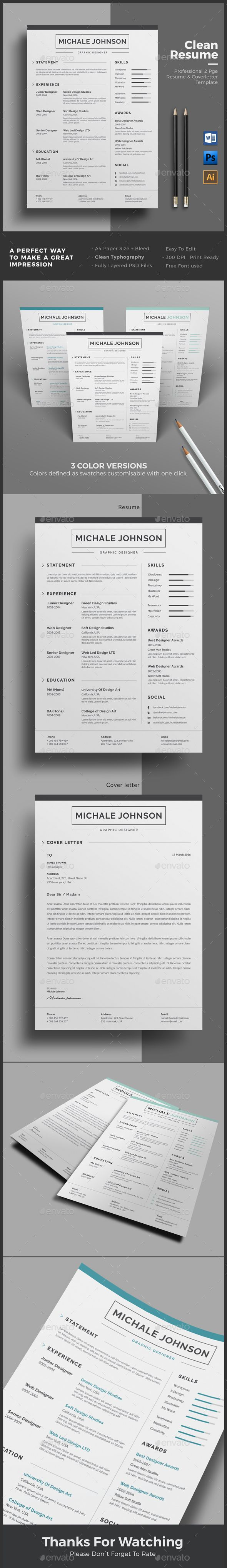 Word Cv Templates 2007%0A Resume Resume Word Template   CV Template with super clean and modern look   Clean Resume
