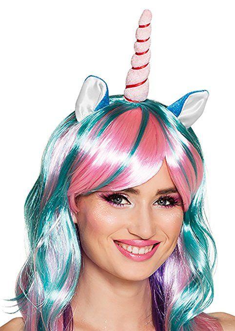 Langhaar Regenbogen Perücke Einhorn Unicorn Kostüm Einhornkostüm Horn und Ohren Einhornperücke Perrücke, Mehrfarbig, Frauen