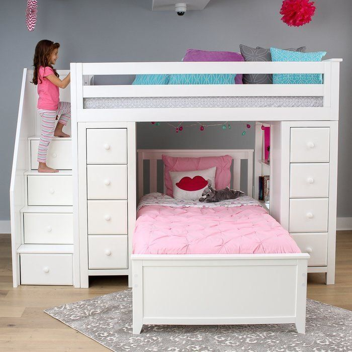 Ayres Twin L Shaped Bunk Bed With Drawers And Shelves 1000 In 2020 Bunk Beds With Drawers Bed With Drawers Bed For Girls Room