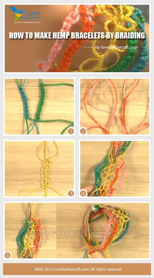 tutorial about making hemp bracelets by braiding
