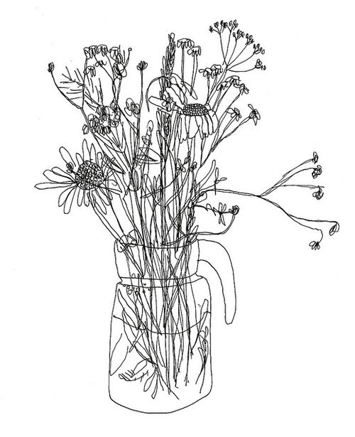 Line Drawing Of Artist : The best flower line drawings ideas on pinterest