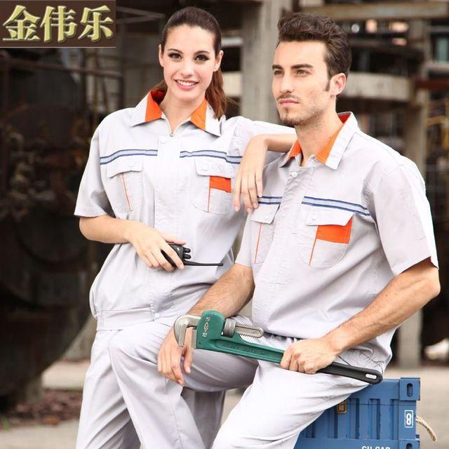 worker full set uniforms short-sleeve engineer work wear set male clothing tooling uniform protective clothing