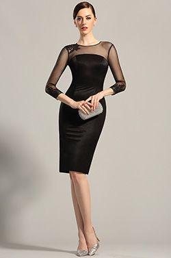 Vestido Negro de Coctel Vestido de Día Simple y Elegante (26152900)