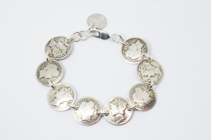Bracelet Handmade from Vintage Silver Mercury Dimes and Silver Barber Dimes (All Heads) with Solid Sterling Silver Findings