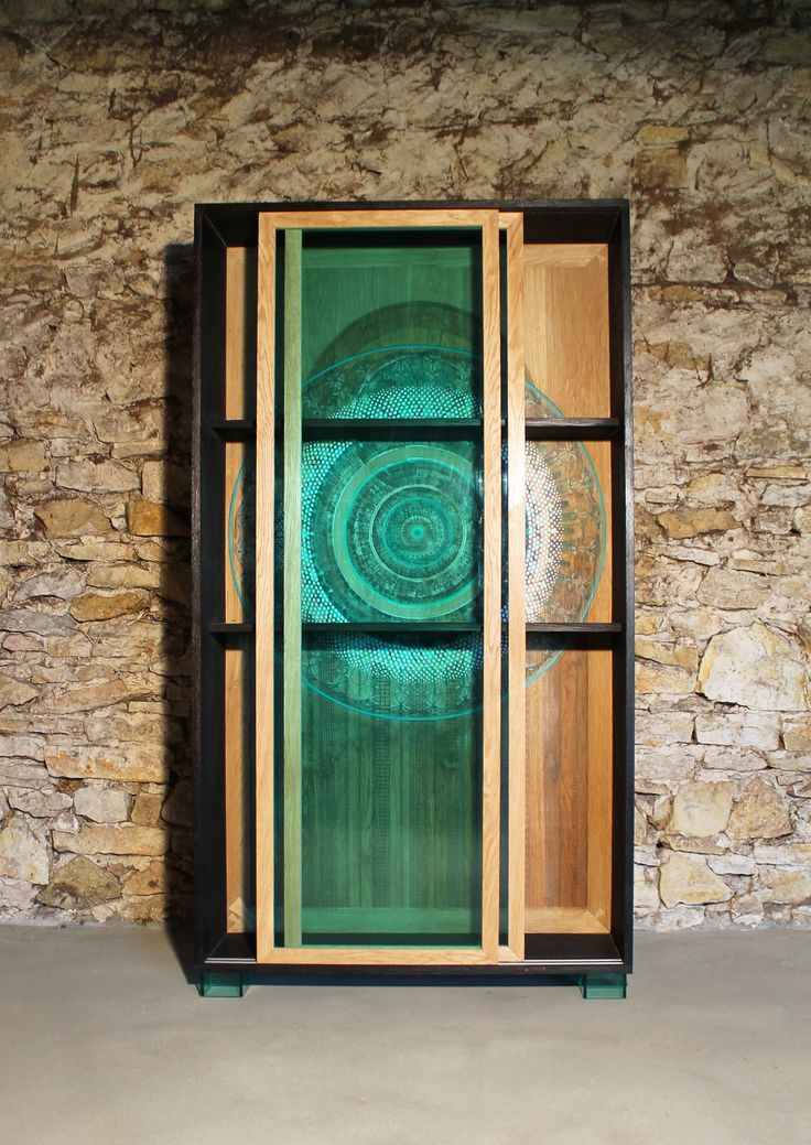 "Wardrobe, oak and plexi glass  Igor Polasiak woodworker,  Monika Korpak painter,  ""szkalnetarium"""