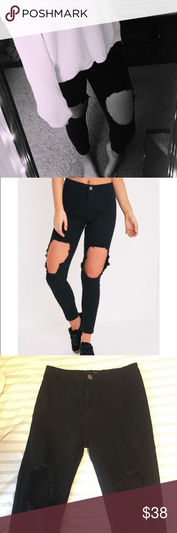 Black knee rip jeans Size 6 labeled UK10- pretty little things not misguided Missguided Jeans Skinny