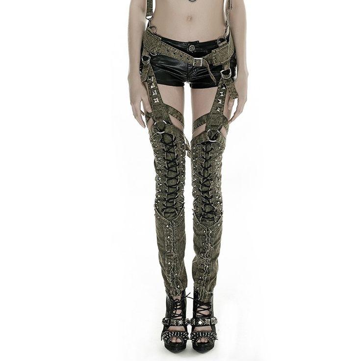 K-253 2016 Newest Design Punk Green Military Uniform Style Sexy Rivets Women Overalls