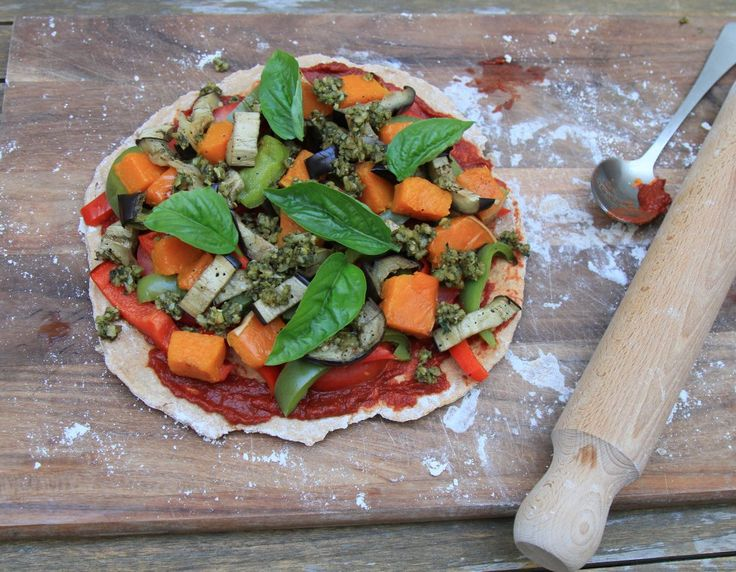 Roast Vegetable Wholemeal Spelt Pizza. The handmade base is thin and crispy. This is a great way to amp up your vegies in your diet.