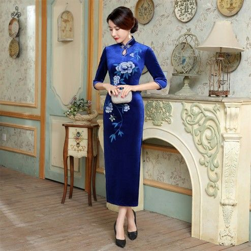 Traditional Saphire Blue Half Sleeve Long Cheongsam Floral Evening Dress