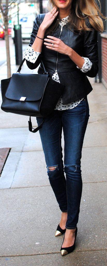 Women's Black Leather Jacket, White and Black Polka Dot Dress Shirt, Navy Ripped…