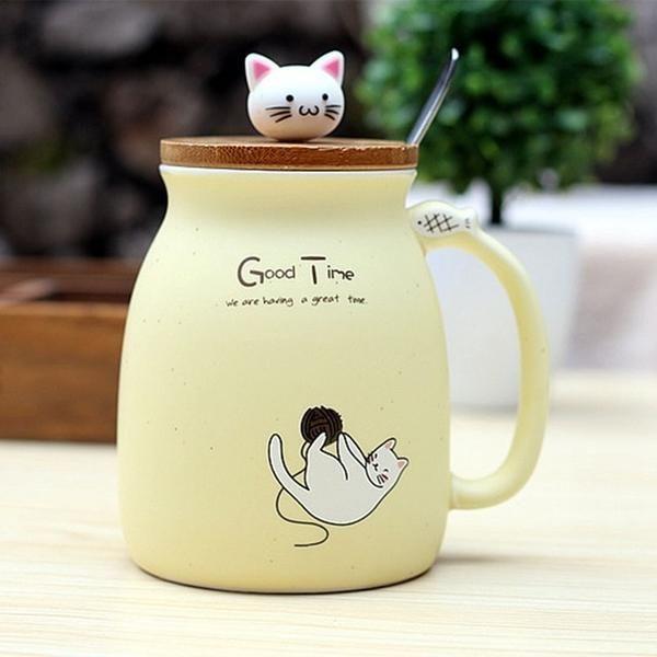 And Stirring Mug SpoonFeline Majesty Kitten Including Cat Top 8OkNn0XZPw