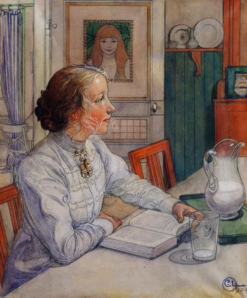 """My Eldest Daughter (Min Aldsta Dotter) 1904. Carl Larsson (1855-1919 Swedish). Chalk, ink & watercolor.    The pictures of my family and home """"…became the most immediate and lasting part of my life's work. For these pictures are of course a very genuine expression of my personality, of my deepest feelings, of all my limitless love for my wife and children."""" — Larsson, memoirs Jag (""""I"""")."""