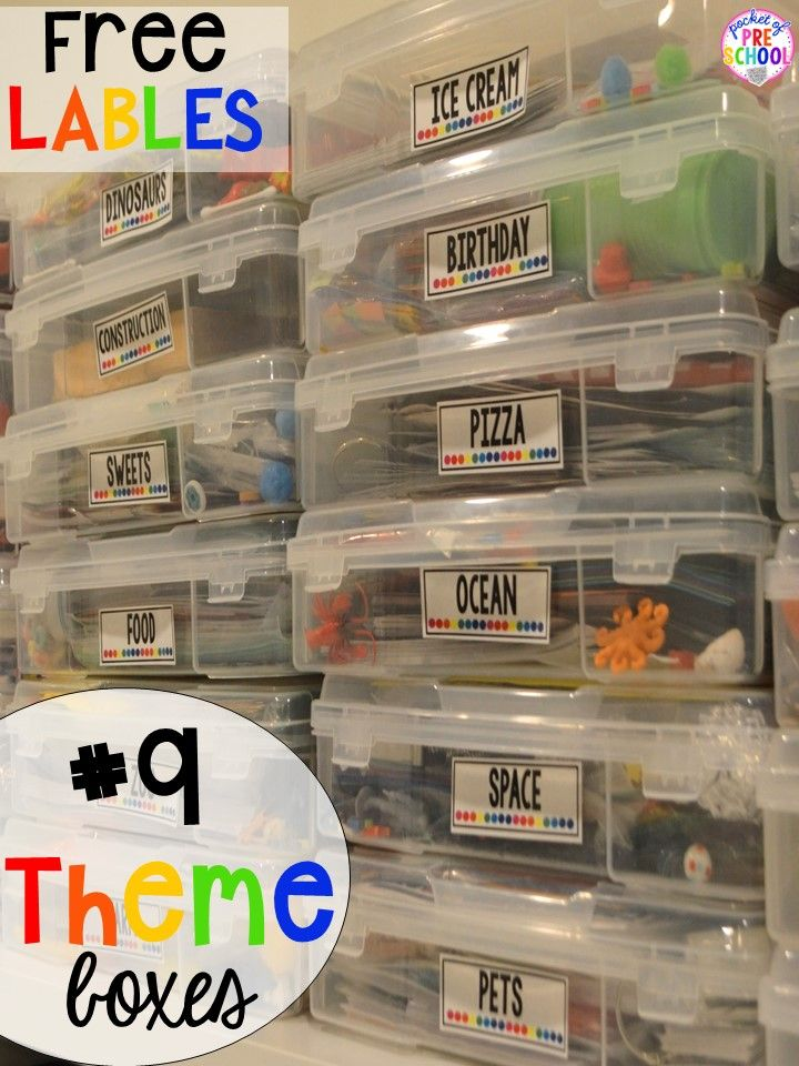 Theme box hack plus 14 more classroom organization hacks to make teaching easier that every preschool, pre-k, kindergarten, and elementary teacher should know. FREE theme box labels too!