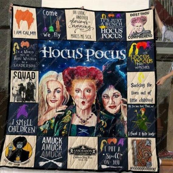 Hocus Pocus I Smell Children I Put A Spell On You Fleece Blanket 50x60x80 In 2020 Hocus Pocus Quilt Blanket Fleece Quilt