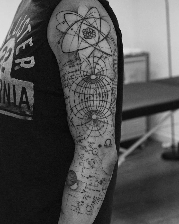 Tatuagem de ciência, física e astronomia. Science, physics and astronomy tattoo.