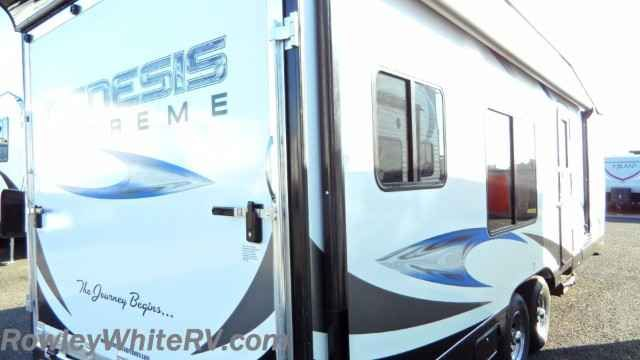 2017 New Genesis Supreme Supreme Toy Hauler 23SS Toy Hauler in Arizona AZ.Recreational Vehicle, rv, 2017 Genesis Supreme Supreme Toy Hauler, New Half Ton Towable 2017 Genesis Supreme 23SS Toy Hauler $26900 VIN 1G9T12624HC468053 Rowley White RV is now in Phoenix. With a second location you now have more to choose from including this half ton towable 23 foot Genesis Supreme toyhauler trailer. Loaded up with lots of features including: *AC and Furnace *Drive on Wheel Well *Front queen bed with…
